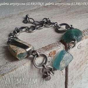 Na surowo bransoletka ze szkła antycznego i srebra szarotka
