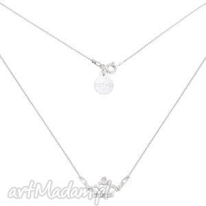 Srebrny naszyjnik z koroną kryształami, naszyjnik, zawieszka, korona, krysztaly