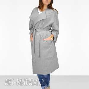 Bien Fashion Długi przejściowy płaszcz damski z paskiem, długi, maxi, pasek, casual