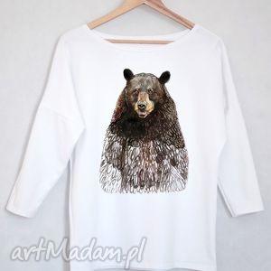 MIŚ bluzka bawełniana oversize S/M biała, miś, niedżwiedź, koszulka, bluzka, nadruk