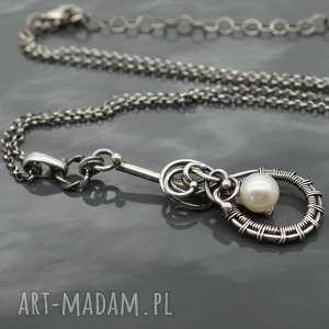 srebrny wisiorek z naturalna perłą - split 2, perła, naturalna, słodkowodna