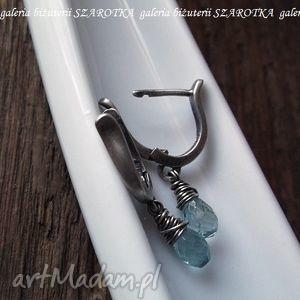 kolczyki wodnisty błękit minimalistyczne z akwamarynów i srebra, akwamaryn