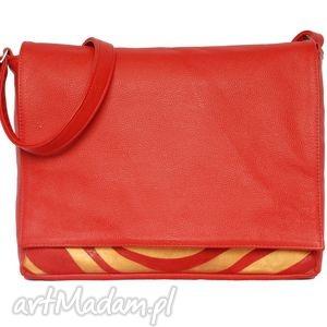 handmade teczki 35 -0007 czerwona torebka aktówka damska do szkoły i na studia robin