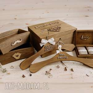 ślub rustykalny zestaw ślubny - pudełko na koperty obrączki wieszaki