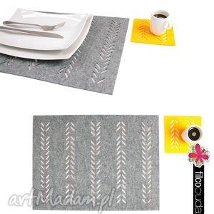 handmade podkładki podkładka filcowe pod zastawę warkocz 4 szt