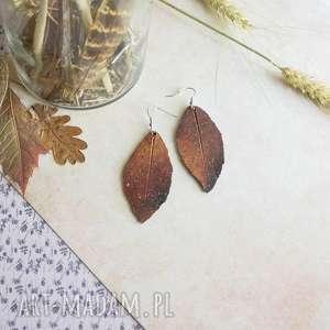 ogniste kolczyki liście, na prezent, kolczyki, polymerclay, malowane, ogień