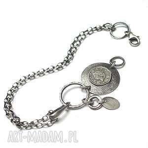 Numizmaty - bransoletka, srebro, oksydowane, moneta, metaloplastyka