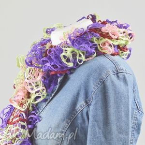 fantazyjny szal - pastelowy multikolor - szalik, kolorowy, delikatny, fantazyjny, kobiecy