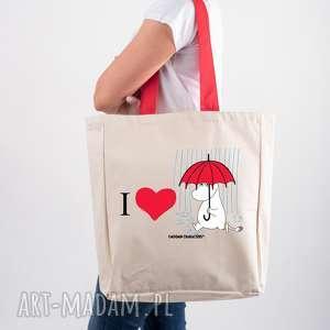 Licencjonowana torba XXL Muminki z czerwonym uchem I LOVE MUMINEK, dla-niej, shoperka