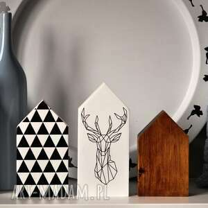 hand-made dekoracje 3 domki z jeleniem