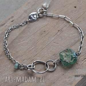 organiczna srebrna bransoletka ze szkłem antycznym i kamieniem księżycowym