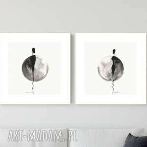 zestaw 2 grafik 30x30 cm wykonanych ręcznie, abstrakcja, 2700065, obraz ręcznie
