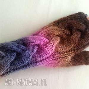 rękawiczki tęczowe, ciepłe, kolorowe, modne