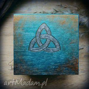 Ręcznie malowane drewniane pudełko Celtycka Triquetra, celtycka, plecionka, triquetra