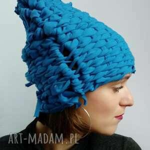 Czapka tkana niebieska czapki katarzyna staryk tkana, błękitna