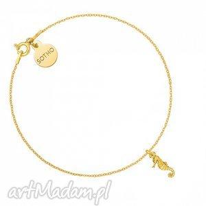 złota bransoletka z konikiem morskim - minimalistyczny, zawieszka