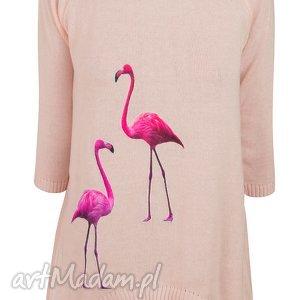 sweterek z naszywkami s m,l xl - flamingi, ptaki, naszywki, aplikacje, dzianina