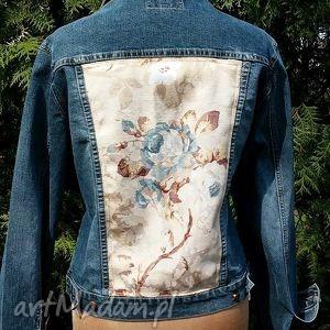 jeansowa kurtka z kwiatem - katana, dżns, recykling, modna, aplikacja, kwiat