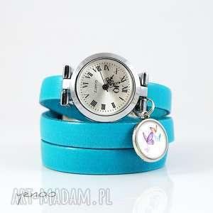 hand-made zegarki zegarek, bransoletka - motyle niebieski, skórzany