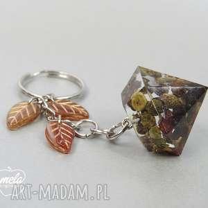 0242 mela brelok do kluczy peper, szklane liście breloki art