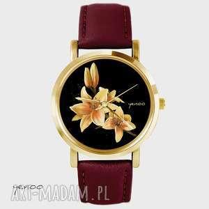 zegarek - żółta lilia bordo, skórzany, złoty, zegarek, bransoletka, lilia, kwiat