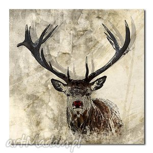 obraz JELEŃ 3 - 80x80cm na płótnie, obraz, jeleń, płótno