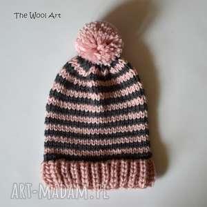 Czapka pink-gray czapki the wool art czapka, wełniana, na jesień