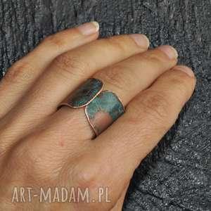pierścionek z patynowanej miedzi /2/, pierścionek, patynowana, miedz, biżuteria