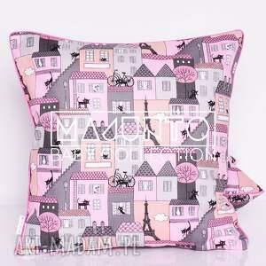 hand-made poduszki poduszka bawełnina kotki róż 40x40cm wyprzedaż