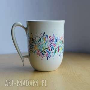 kubki kubek ceramiczny ręcznie malowany multikolor, kubek
