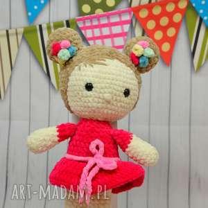 lalki szydełkowa lala - czerwony kapturek, lalka, maskotka, szydełko, laleczka