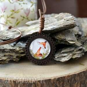naszyjniki naszyjnik regulowany z wisiorkiem woody lisek, biżuteria drewna