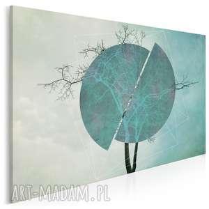 obraz na płótnie - drzewo turkus 120x80 cm 41101, drzewo, okrąg, koło