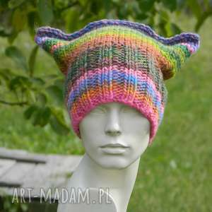 Czapa rogaty melanż czapki aga made by hand rogata, kolorowa