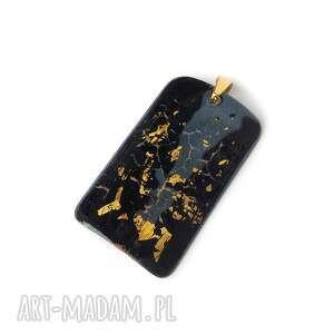 wisior emaliowany plus złoto płatkowe 24ct, emalia jubilerska, złoto