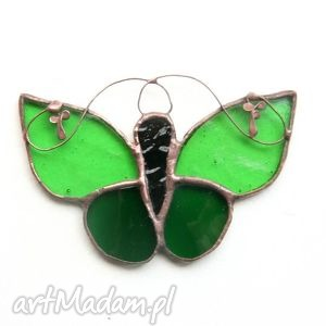 zieleniak zielisty, witraż, motyl, zawieszka witraże