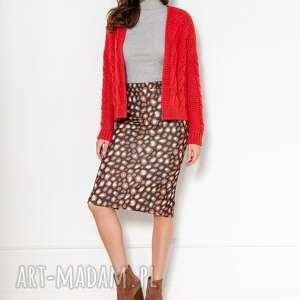 sweter bez zapięcia z warkoczami swe132 czerwony, kardigan, do pracy, szkoły