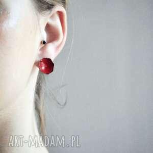 kolczyki red, srebro, miedz, emalia, handmade, rękodzieła, red biżuteria