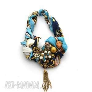 glamorous naszyjnik handmade, naszyjnik, kolia, niebieski, złoty, wielobarwny