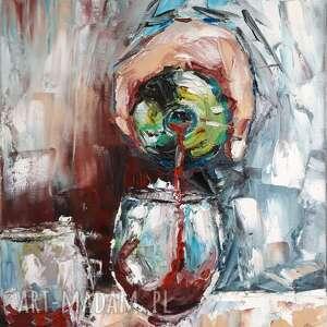 obraz olejny wino do salonu biura pubu kawiarni 30x1x40 cm, olejny