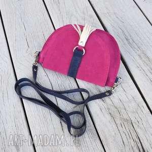 hand-made dla dziecka skórzana torebka - różowy welur