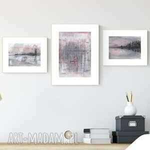 zestaw 3 obrazów wykonanych ręcznie, obraz ręcznie malowany, do salonu