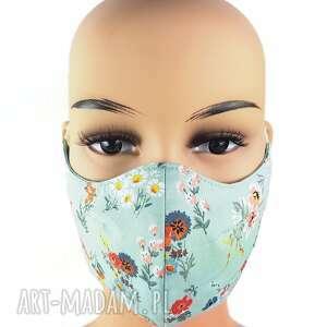 maseczki kwiecista pastelowo mietowa maseczka z regulacją, awenturyn, maska