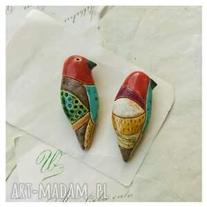 hand-made broszki barwne ptaki