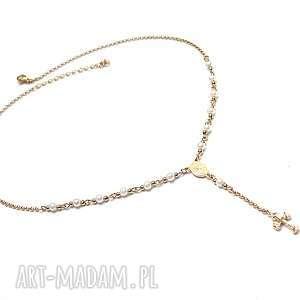 naszyjniki crucifix /white - gold/ naszyjnik, metal, ki ka, różaniec, krzyż