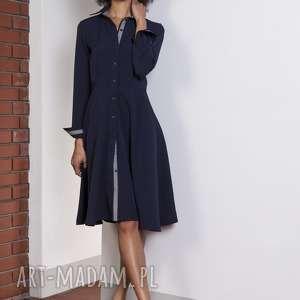 Rozkloszowana sukienka, SUK151 granat, elegancka, klasyczna, rozkloszowana