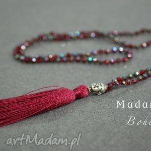 bohme buddha długi naszyjnik z frędzlami bordo - buddha, naszyjnik, bohema