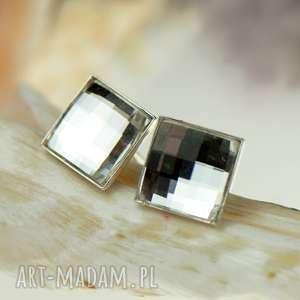 Kryształowe kwadraty Swarovskiego srebrne sztyfty d083, kryształowe-kwadraty