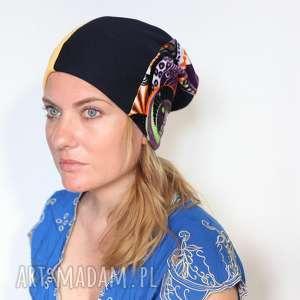 czapka rozdziobią nas kruki i nieuki - czapka, kolorowa, mama, patchwork, rower