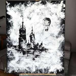 obraz ręcznie malowany - magiczny kraków - 100x80 cm, podobrazie 3d